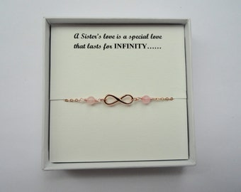 Sister gift, Rose gold infinity gemstone bracelet, Rose gold infinity bracelet, Infinity bracelet, Infinity jewelry
