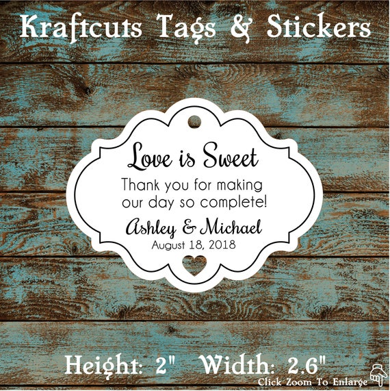 Love is Sweet Personalized Wedding Favor Tags - Qty: 30 Tags #609
