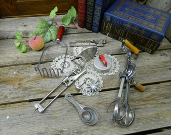 Collection of Vintage Farmhouse Kitchen Tools