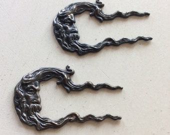 Antiqued brass moon in wind flourish charms 2 pc