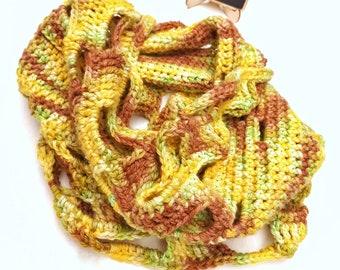 Wool infinity scarf, cowl neck warmer, womens wool scarf, spring scarf, yellow ladies scarf, crochet cowl