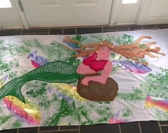 Two Hand Produced Painted Panel Mermaids with Panyhose Hair and Sheel Accents