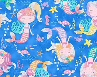 """END OF BOLT- 16""""X44"""" Glitter Mermaids on Blue from Northcott Fabric's Mermaid Wishes Collection"""