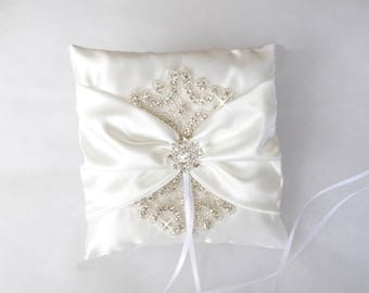 Rhinestone ring pillow Ivoiry satin ring bearer pillow Ring bearer pillow Bling wedding pillow Bridal gift  Crystals ring pillow Flower girl