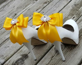 Shoe Clips, Bridal Shoe Clips, Rhinestone Shoe Clips, GoldenYellow,MANY COLORS, Bow Shoe Clips, Clips for Wedding Shoes, Bridal Shoes