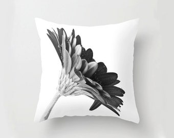 Photo Cushion Cover, Black And White Photo Pillow Case, Contemporary Floral Home Decor, French Cottage Chic, Gerbera Daisy Botanical Art