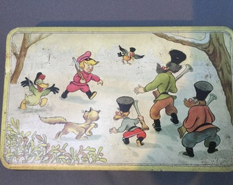 Antique 1940 Disney Peter and the wolf biscuit tin