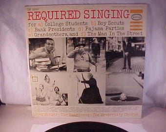 Joey Singer With The Quartones and The Fraternity Chorus - 33 LP - Required Singing