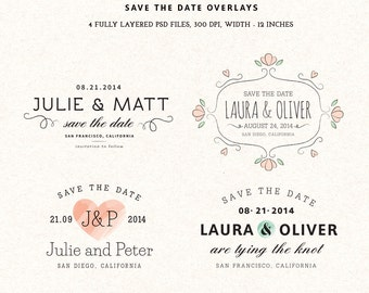 Digital Save the Date overlays - wedding photo card overlays template PSD