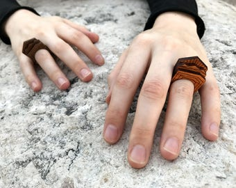 Wood Stacking Rings Set - Minimalist Geometric Linear Etched Wooden - Walnut or Cherry Natural Eco Gift All Sizes