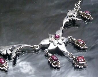 Victorian Garnet Vines Flowers Necklace Pendant sterling silver Chandelier artisan gothic medieval steampunk jewelry