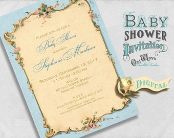 Elegant Vintage Invitation - Baby Shower or Sip & See, French Victorian in Blue, Custom Printable Baby Boy Shower 5x7 JPEG or PDF File