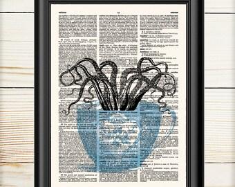 Octopus Print, Kitchen Decor, Sea Life Decor, Squid, Dictionary Print, Octopus Artwork, Tea Cup Print, 042