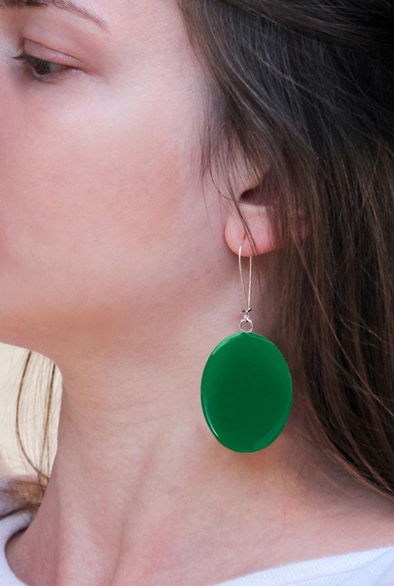 Emerald Green earrings, statement earrings, green resin earrings, modern minimalist, moss green earrings, big oval long lightweight earrings