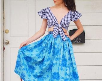 1950s polished cotton floral skirt