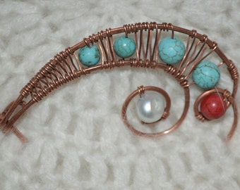Copper wire Shawl Pin with Turquoise stone,Coral and Perl, Scarf Pin, Brooch, Wire Wrapped Pin, Wire Jewelry, FREE SHIPPING