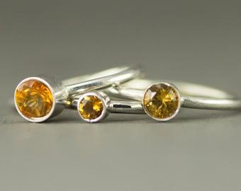 Citrine Stack Ring - Sterling November Birthstone Ring  - 6mm 5mm or 4mm