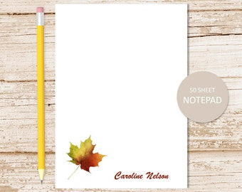 personalized leaf notepad, note pad . autumn leaf notepad . fall leaves . personalized stationery . stationary gift