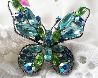 Blue Green Rhinestone Crystal Carnival Glass Butterfly Brooch - 1960s - Exquisite Design - Special Occasion - Vintage