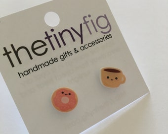 Coffee and Donut Earrings | Sterling Silver Post Studs | Gifts For Her