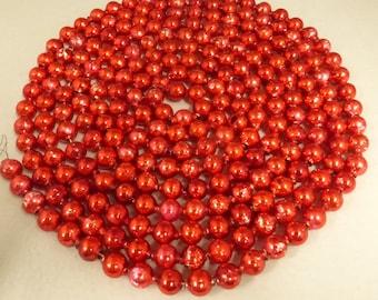 Vintage Mid Century 11mm  Red Mercury Glass Bead Garland  MGB181
