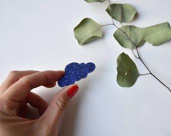 Brooch cloud glitter electric blue