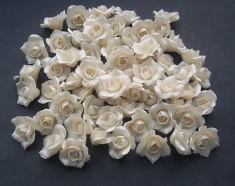 "Pearl Roses beads (5pcs), white pearl roses, Flower beads, handmade beads, polymer clay beads 0,6""-0,68"" (1,5-1,7cm), rose beads"