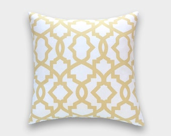 Clearance 50% Off Saffron Yellow Sheffield. Decorative Throw Pillow Cover. 18X18 Inches. Pale Yellow and White Ikat Couch Pillow Cover.