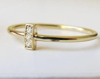 Gold Bar Ring Diamond, Minimalist Ring, Modern Ring, Stackable Ring, 14k Solid Gold Ring 3 Diamond, Dainty Ring, Anniversary Ring