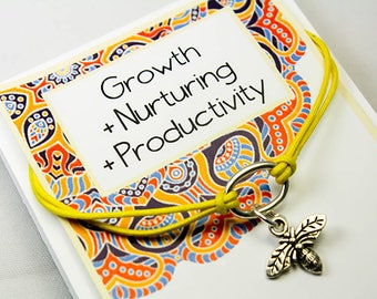 Friendship Bee Bracelet - Bee Charm Bracelet - Growth - Nurturing - Productivity - Intention Bracelets INT030-