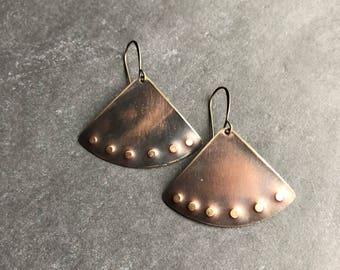 Antique brass earrings boho earrings dangle earring drop earrings rustic earrings neutral earrings earthy earrings