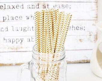 Gold Zigzag Paper Straws, Beautiful Gold Straws for Wedding or Birthday Celebration, Gold Straws, Gold, Paper Straws, Wedding Straws