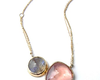 Labradorite and Peach Tourmaline Cleo Necklace, Recycled 14k Yellow Gold Gemstone Pendant, One-of-a-Kind