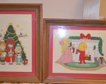 Lovely Vintage Christmas Needlepoint Wall Hanging.Precious Moments. Wall HangingHandmade.Religious Christmas Celebration.Crafts.Decor.Gifts
