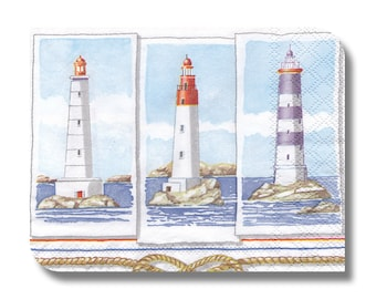 Nautical paper napkin for decoupage, mixed media, collage, scrapbooking x 1.  Lighthouse. No 1245