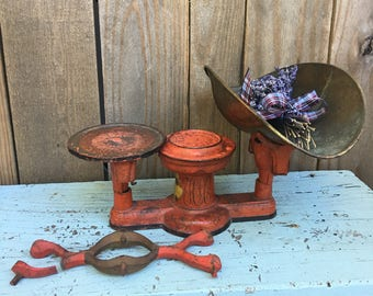 Antique Scale - Red Scale - Metal Scale - Howe Scale - General Store Scale - Antique Decor
