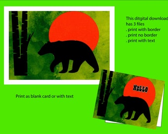 Hello, card with text, black bear in sunset,digital download,card making,print yourself,cards for men,Design ArtbyGlo