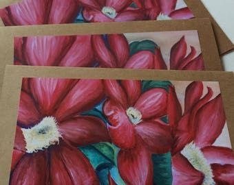 Red Flowers Handmade Craft paper Notecards, set of 4 5x7 inch cards