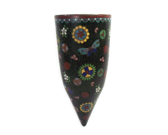 Antique Japanese Cloisonne Wall Pocket Vase from the Meiji Period