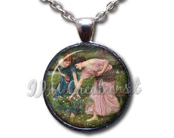 Gathering Ye Rosebud Waterhouse Art Round Glass Pendant or with Necklace