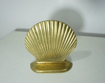 SIngle Scallop Sea Shell brass bookend nautical beach house bookshelf display seashell