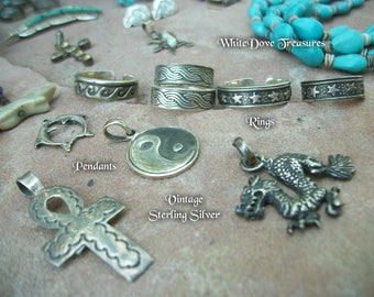 Vintage Sale Sterling Silver Rings & Pendants ~ Choice Listing ~ Citrine Cross ~ Dolphin Yin Yang Dragon Charms
