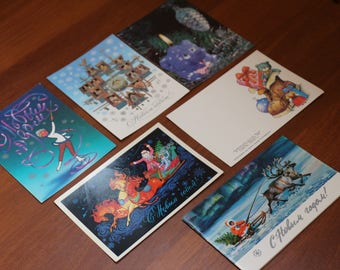 Happy new year, holiday cards, Soviet postcards  in Russian, vintage postcards with  animals