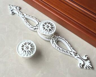 Shabby Chic Drawer Pulls Handles Knob Dresser Knobs Cabinet Door Knobs Back Plate Plates White Silver Decorative Furniture Knob Pull