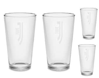 SET Juventus FC Beer Pub Pint Glasses Custom Etched Barware Soccer Futbol