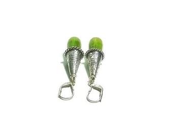 Green Agate  Earrings  ,  Sterling Silver Lever Ear Wires , Sterling Silver Earrings Faceted  Agate Earrings