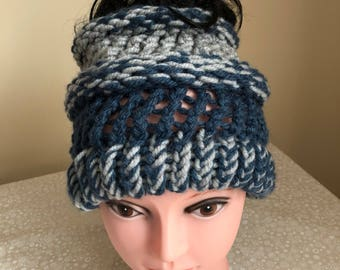 Blue/Grey Messy Bun/Ponytail hat