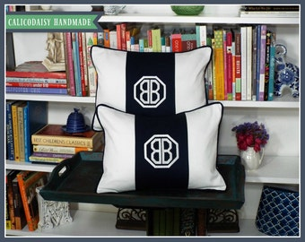 Set of Two - Monogrammed Personalized Color Block Pillow Cover - Lumbar Size 12 x 16