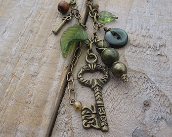 Keys to the Forest Necklace - Long Leaf, Key and Button Charm Necklace - Pixie Necklace