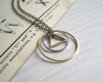 Mixed Geometric charm necklace - petite circles and triangle in mixed metals on brass - minimalist jewellery